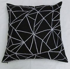black and white linen graphic throw pillow by Comfyheavenpillows, $26.75