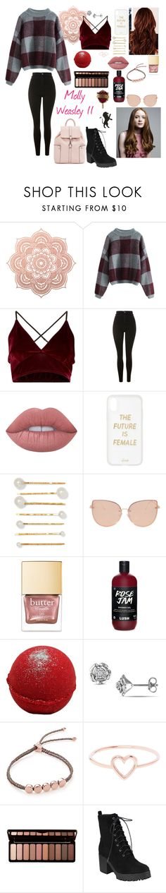 """""""Molly Weasley II • Harry Potter"""" by pollyesmeyates ❤ liked on Polyvore featuring Topshop, Lime Crime, Sonix, Jennifer Behr, Monica Vinader, Love Is and Forever 21"""