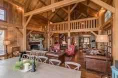 Timber Frame Homes - Timber Frame Living Room - Timber Frame Dining Room - Homestead Timber Frames - Handcrafted Timber Frames
