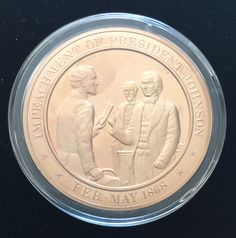 1868 IMPEACHMENT of PRESIDENT A JOHNSON Franklin SOLID BRONZE UNCIRCULATED