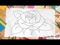 How to Draw a Rose - *NEW 2015* Easy step-by-step drawing lessons for kids - YouTube