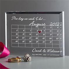 "This ""The Day We Said I Do"" Wedding keepsake is so beautiful and unique! You personalize it with the couple's names and it shows the month they were married with a cute heart on the actual anniversary date! And it's on sale right now for only $19.95! #WeddingGift #AnniversaryGift #Sale #PMall.com"