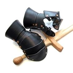 leather mitten gauntlets, from By the Sword
