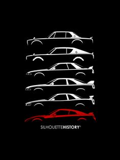 GeeTeeAru SilhouetteHistory Silhouettes of the six generations of Datsun/Nissan Skyline GT-R:PGC10 (Hakosuka),KPGC110 (Kenmeri), R32, R33, R34 and R35