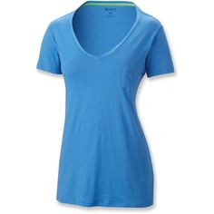Columbia Everyday Kenzie V-Neck T-Shirt ($18) ❤ liked on Polyvore featuring tops, t-shirts, vneck t shirts, blue v neck t shirt, v neck t shirts, columbia and v neck tee