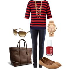 """""""Untitled #230"""" by bbs25 on Polyvore red blue jean brown beige"""