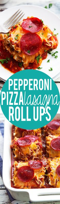 Pepperoni Pizza Lasagna Roll Ups - two classics rolled into one!  | Creme de la Crumb