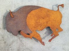 Rusted Steel Bison Wall Sculpture.  36 long by WildHorseSteelworks, $350.00