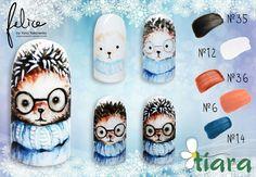 Xmas Nails, Christmas Nails, Winter Nail Designs, Nail Tutorials, Winter Nails, Pedicure, Hair And Nails, Hedgehog, Nailart