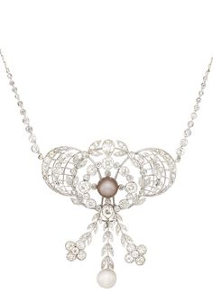 Belle Epoque Platinum, Natural Pearl and Diamond Pendant-Necklace. Of openwork stylized diamond-set garland motif, centering one brownish-pink pearl, encircled by old-mine cut diamonds, supporting 2 florets joined by a line of pairs of leaves, the center pendant highlighted by one pearl, topped by one old-mine cut pear-shaped diamond, completed by a delicate chain set with 20 collet-set old-mine cut diamonds, circa 1905.