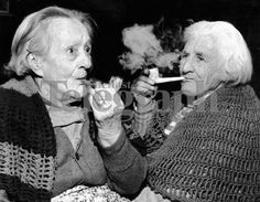 OLD PHOTOS OF PIPE SMOKING   Two old women smoking pipes. 28/11/1962 - 46940   Belfast Telegraph ...