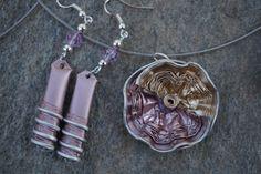 bijoux parure collier boucles d'oreilles capsule café nespresso recyclé OR, doré,rose poudré : Parure par cococreative