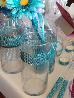 Tiffany blue turquoise vases centerpiece candy by userbear4829, $8.00