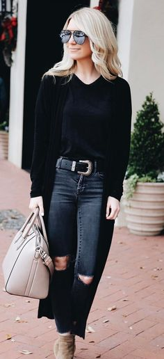 black on black + nude bag + boots