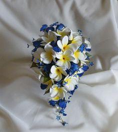 Frangipani Plumeria Blue Orchid Tear Drop Cascade Bouquet