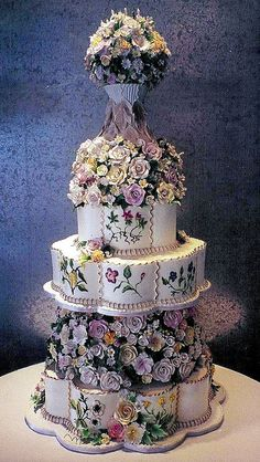 Scalloped Floral Fantasy by Rosebud Cakes - 25 Year Anniversary, via Flickr