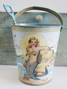 Mermaid Sand Pail & Shovel Set - Nautical Party Decor - Coastal Kitchen Decor - California Seashell Company
