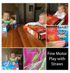 Fine Motor Activity for Toddlers - Cereal Boxes And Straws