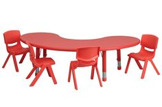 Flash Furniture - Adjustable Half-Moon Activity Table Set with 4 Stack Chairs