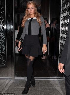 Paris Hilton wearing the PP House of Holland Super Suspender tights in Beverly Hills.