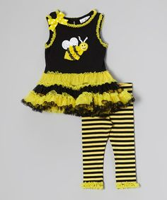 Look at this #zulilyfind! Yellow & Black Bee Frill Dress & Leggings - Infant by Rare Editions #zulilyfinds