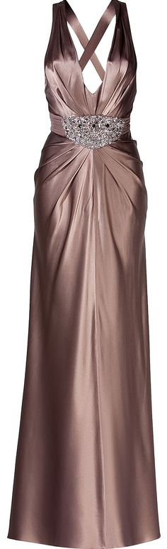 JENNY PACKHAM  Espresso Deep V-Neck Embellished Evening Dress