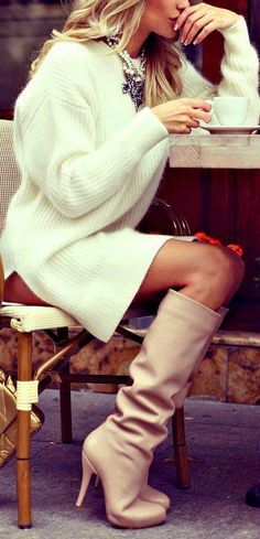 Cream Sweater dress and Neutral/Blush knee-high heeled boots