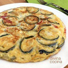 Tortilla de berenjenas, queso y pimientos < Divina Cocina