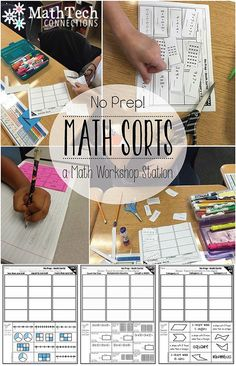 Math Centers for upper elementary students, These no prep math sorts ...