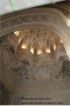 Ornate roof of the Hall of 2 Sisters Nazaries Palace Alhambra Grenada Spain