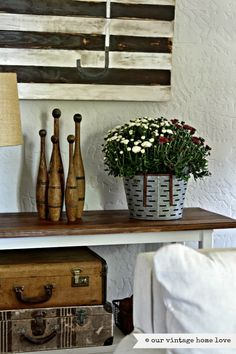 our vintage home love - fall mum in olive bucket
