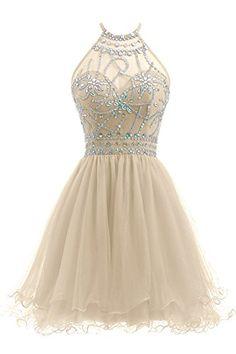 Ellames Women's Beaded Halter Homecoming Dress Short Tull...