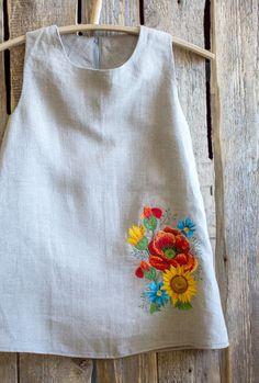 Girls Handmade Embroidered Linen Dress | NaturalHomeTreasures on Etsy