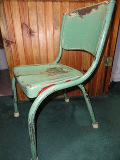 Vintage Industrial Metal Office Chair Green Mid-Century Modern