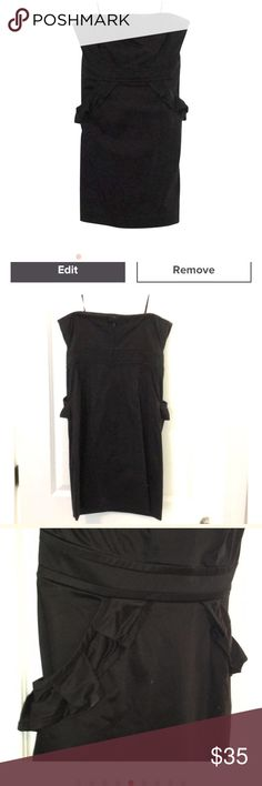 J. Crew black ruffle pocket dress Super cute black J. Crew ruffle pocket strapless dress. Great condition! The only imperfection is small deodorant marks that need to be dry cleaned out! (See photos) From a smoke free home! J. Crew Dresses Mini