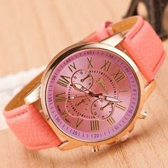 Women Dress Watch Luxury Gold Geneva Roman Numerals Faux Leather 2-Layer Analog…