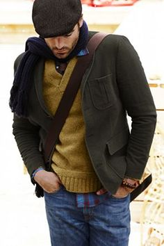 Great casual layers with a newsboy cap