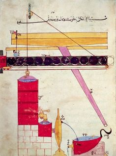 Device for supplying water to a fountain, from 'Book of Knowledge of Ingenious Mechanical Devices' by Al-Djazari, 1206