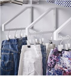 Shelf Bracket Closet DIY by Livet Hemma Turn some shelf brackets literally upside down and let your clothes, shoes and jewelry become part of the decor. Perfect for a dorm space.