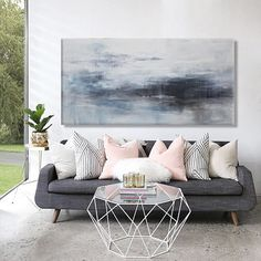 large abstract seascape painting white blue black gray