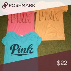 VS pink ts Like New No stains fades rips or tears!  $22 EACH or $50 for all Tops