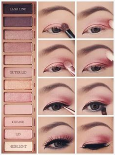 This Is A Cute Pink Eyeshadow Look. Urban Decay Naked 3 Palette Tutorial.