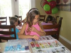 10 year old girl's beading jewelry making birthday party in Burlington, Ontario.