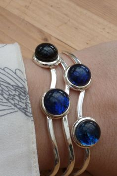 Sparkly blue glass cabochon bangle by PaladinGlass on Etsy, £9.95