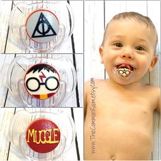 Harry Potter inspired Avent pacifier binky handmade muggle deathly hallows on Etsy, $12.50