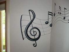 Music Bedroom Theme Ideas: It's All About Music: Mural For Music . Music Wall Art, Music Decor, Diy Wall Art, Music Painting, House Painting, Bedroom Themes, Diy Bedroom Decor, Bedroom Ideas, Music Bedroom