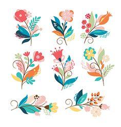 Set of cute cartoon flowers vector by Lenlis on VectorStock®