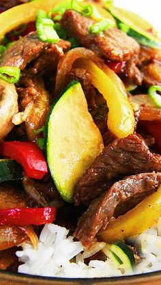 Saucy Korean Beef Stir Fry Recipe ~ not just any dinner – melt in your mouth tender beef oozing with the Korean spiced marinade... vibrant, fresh, tender-crisp veggies dripping with the savory, slightly sweet, slightly spicy, soy sriracha sauce