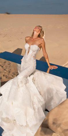 beautiful wedding dresses mermaid strapless sweetheart plunging v neckline lace pnina tornai