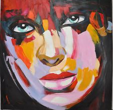 """Abstract Portrait Face Palette Knife Textured Oil Painting 32x32"""" Handpainted"""